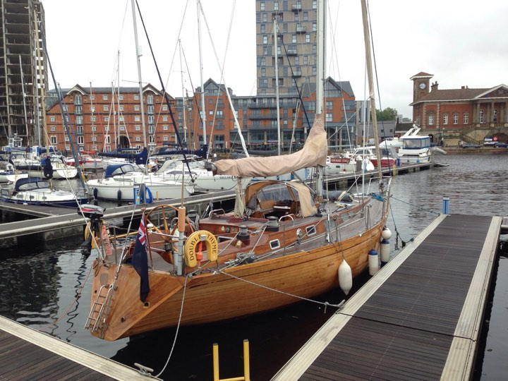 Swanky wooden boat at Neptune Marina in Ipswich