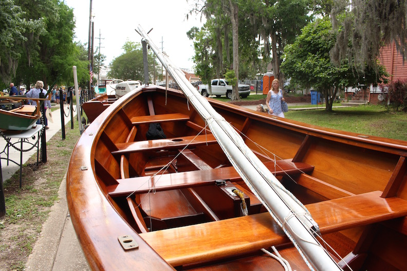 This little wooden sailboat has a daggerboard to allow it to navigate shallow swamp waters.